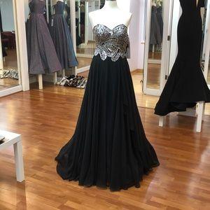 Black prom dress with rhinestones